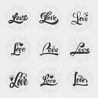 Liebe kalligraphische inschriften für grußkarten und kann in jedem design verwendet werden