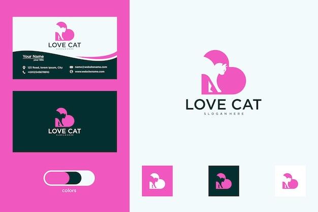 Liebe katzenlogo-design und visitenkarte