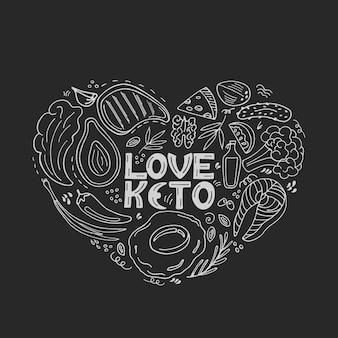 Liebe keto handgezeichnete banner. ketogenes essen kohlenhydrat- und proteinarm, fettreich. paleo-diät. gesundes essen im doodle-stil. angekreidet auf einer tafel. strichzeichnungen.
