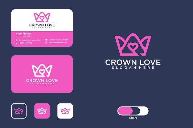 Liebe krone logo design und visitenkarte