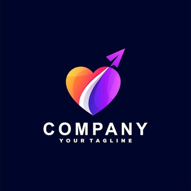 Liebe logo-design mit farbverlauf