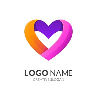 Liebe logo-design, moderner 3d-logo-stil in lebendigen farbverlaufsfarben