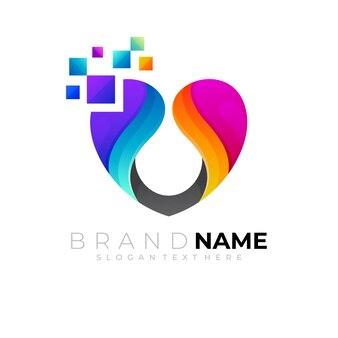 Liebe logo- und pixel-design-technologie-stil
