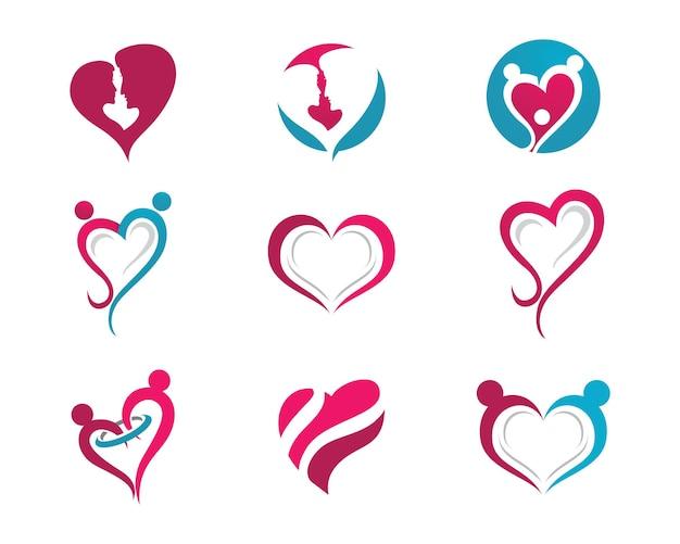 Liebe logo vektor icon illustration designtemplate
