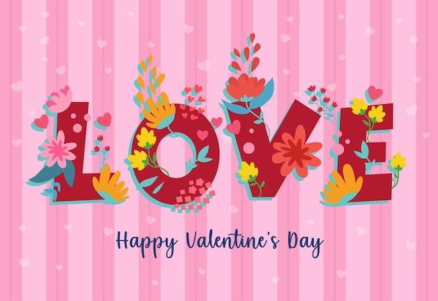 Liebe mit blumenornamenten in der begrüßung des valentinstags