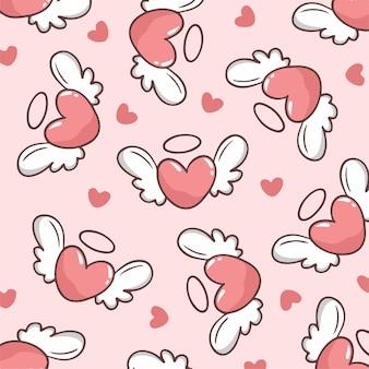 Liebe mit flügel-muster-hintergrund-vektor-illustration
