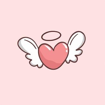 Liebe mit flügeln-symbol-valentinsgruß-vektor-illustration