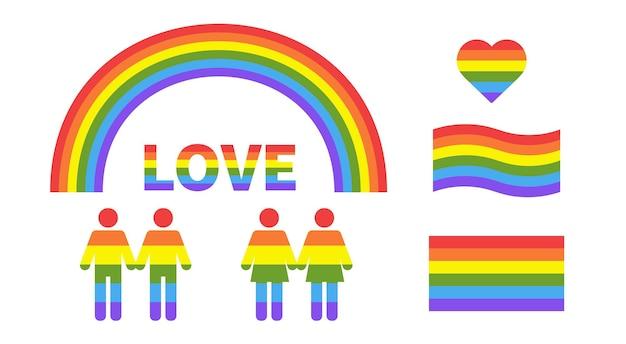 Liebe mit herz regenbogen herzform in lgbtq-flagge auf weißem hintergrund flagge lesbisches und schwules paar
