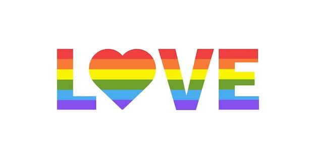 Liebe mit herz regenbogen herzform in lgbtq-flagge auf weißem hintergrund pride month