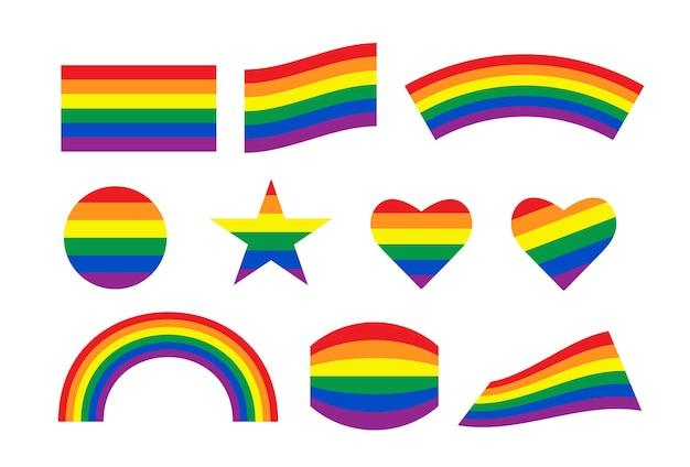 Liebe mit herz regenbogenherz und sternform in lgbtq-flagge