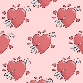 Liebe mit pfeil-muster-hintergrund-vektor-illustration