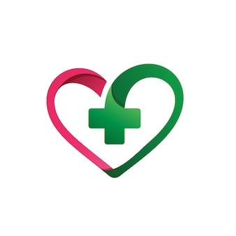 Liebe mit plusform medizinischem logo-vektor