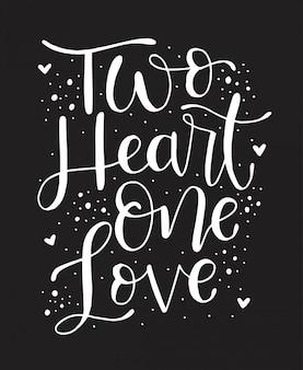 Liebe mit zwei herzen eine, handbeschriftung