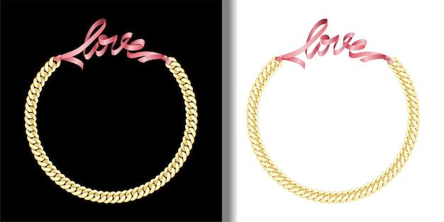 Liebe modedrucke mit goldkette und rosa schleife set