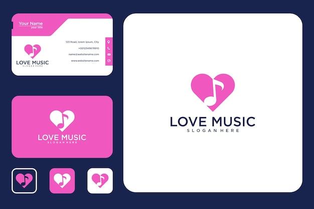 Liebe musik logo-design und visitenkarte