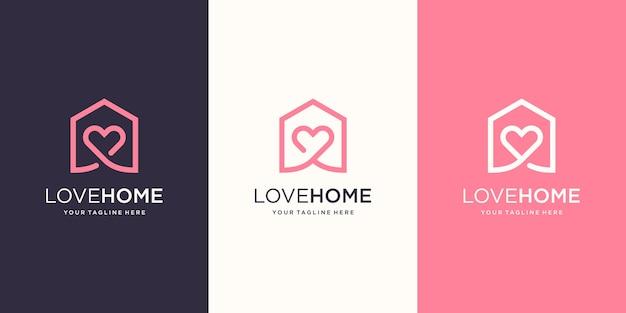 Liebe nach hause logo designs vorlage