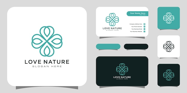 Liebe natur blume logo design linienstil mit visitenkarte