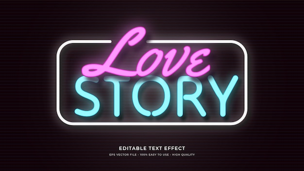 Liebe neonlicht typografie bearbeitbaren texteffekt