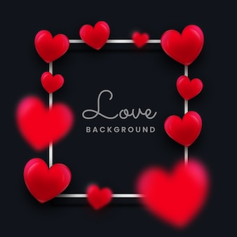 Liebe oder romantischer hintergrund mit verschwommenem herzen