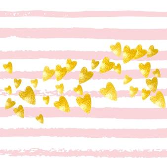 Liebe pailletten. handgezeichnete zeitschrift. rose urlaub partikel. explosionspartikel. goldene hochzeitskarte. gelb leuchtendes textil. rosa girly-design. pink love pailletten