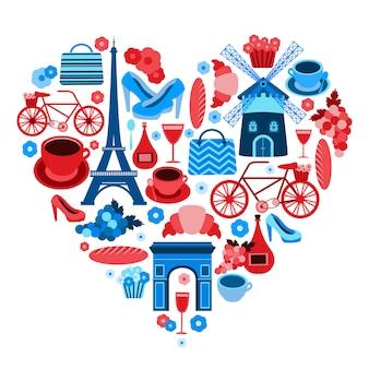 Liebe paris herz-symbol mit icons isoliert gesetzt