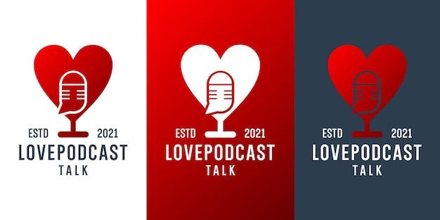 Liebe podcast-gespräch logo-design-vektor