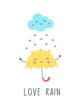 Liebe regen, niedlicher gelber regenschirm lächelt mit der wolke.