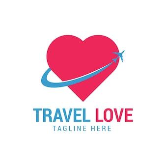 Liebe reisen logo vorlagendesign