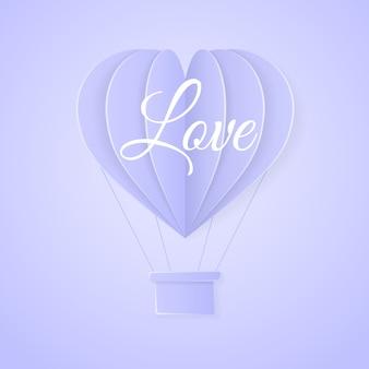 Liebe. retro-einladungskartenschablone des glücklichen valentinstags mit dem heißluftballon des origamipapiers in der herzform.