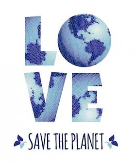 Liebe retten sie den planeten beschriftung mit fliesen