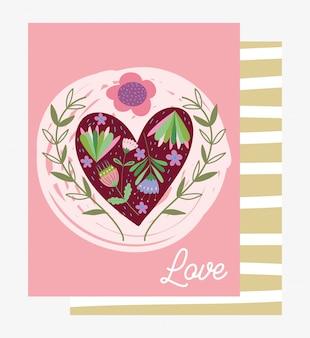 Liebe romantische herzen blumen blumendekoration cartoon karte design vektor-illustration