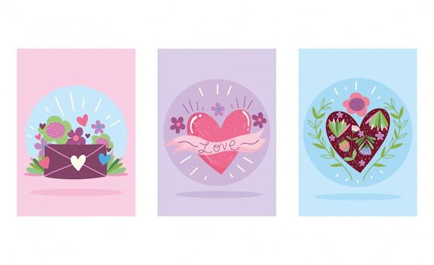 Liebe romantische herzen mail umschlag blumen cartoon niedlichen banner