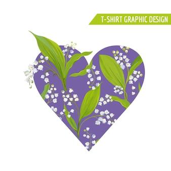 Liebe romantisches blumenherz-design für drucke, stoff, t-shirt-