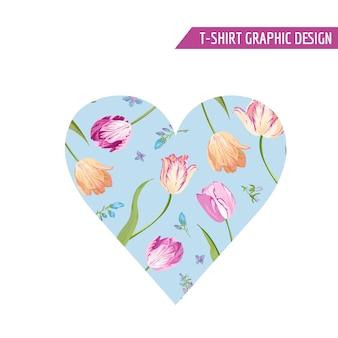 Liebe romantisches blumenherz-design für drucke, stoff