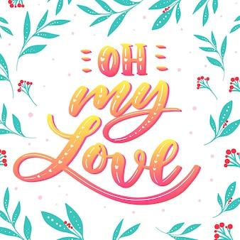 Liebe schriftzug mit farbverlauf design und blätter