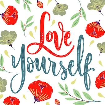 Liebe schriftzug mit mohnblumen