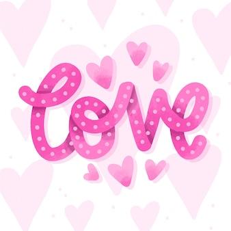 Liebe schriftzug rosa stil