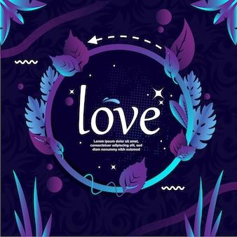 Liebe typowriter mit kreis- und blattvektorillustration