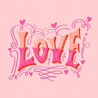Liebe umgeben von ausgefallenen schatten schriftzug