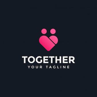 Liebe und familienmenschen zusammen logo design template illustration
