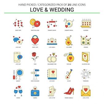 Liebe und hochzeit flache linie icon set