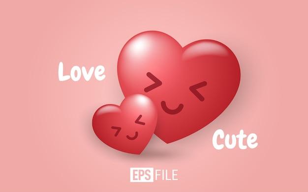 Liebe und süßes gesicht emoticon auf rosa