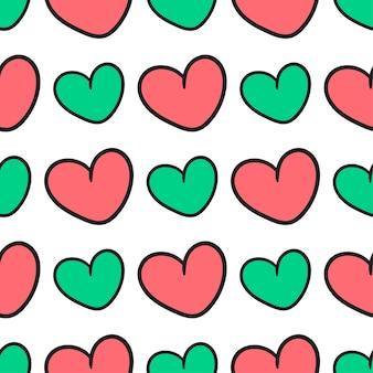 Liebe valentinstag nahtlose muster textildruck. ideal für sommerliche vintage-stoffe, scrapbooking, tapeten, geschenkpapier. musterhintergrunddesign wiederholen