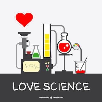 Liebe wissenschaft vektor labor satz