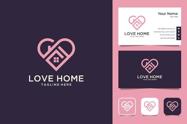 Liebe zu hause modernes immobilien-logo-design und visitenkarte