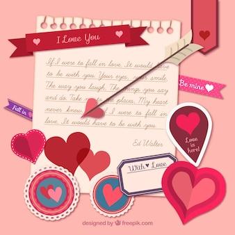 Liebe zur kenntnis mit valentin tag-elemente