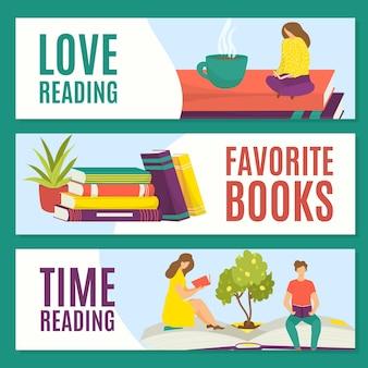 Lieben sie das lesen von lieblingsbüchern, lesezeit, konzept, vektorillustration. mann-frau-leute-charakter lesen, ruhen mit buchstapel.