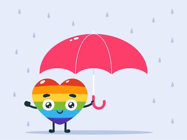 Lieben sie es, einen regenschirm zu benutzen. regnerisches wetter. isolierte vektorillustration