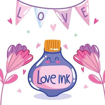 Lieben sie romantische tintenblumen und wimpel im karikaturstilentwurf