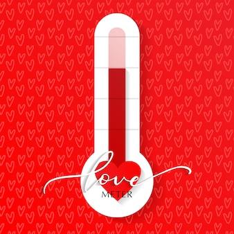 Lieben sie thermometer valentinsgruß-tageskartenelement-vektorillustration mit beschriftungs- und herzmuster